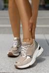 Beżowe sneakersy Sazi gold