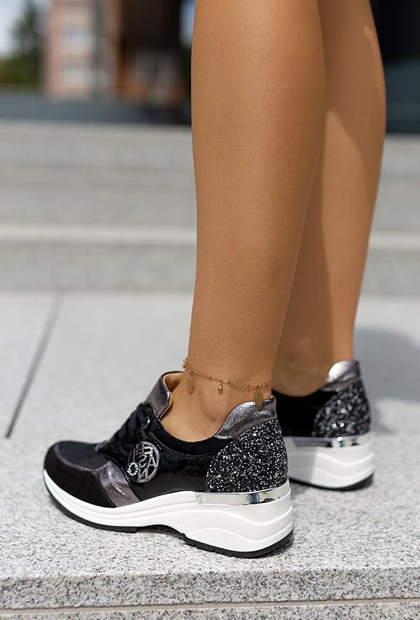 Czarno srebrne sneakersy JudiYo