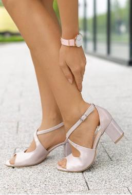 Sandały na słupku Lorena pudrowy róż