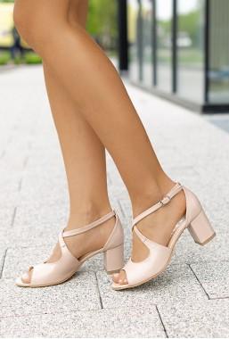Sandały na słupku Lorena beż