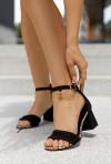 Czarne sandały na słupku Alize