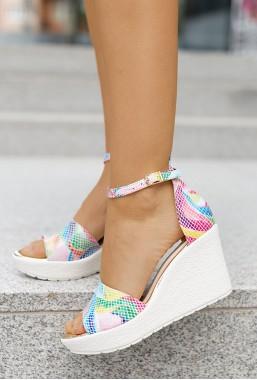 Sandały na koturnie Laure arcobaleno