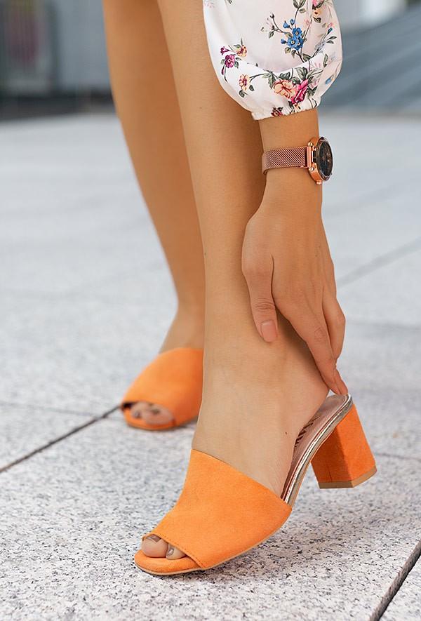 Pomarańczowe klapki Lina
