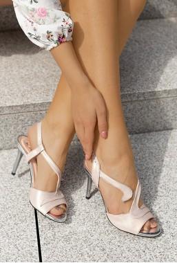 Sandały na szpilce Wendy pudrowy róż