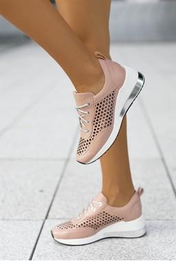 Ażurowe sneakersy Latoya pudrowy róż