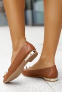 Brązowe ażurowe baleriny Iga
