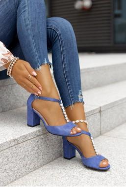 Zamszowe sandały na słupku Annette blu