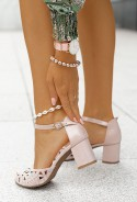Sandały na słupku Laguna pudrowy róż