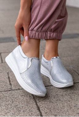 Ażurowe sneakersy Salma srebrne