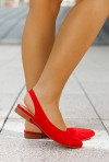 Zamszowe baleriny Natana czerwone
