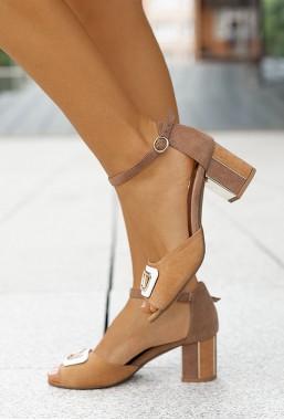 Zamszowe sandały Telmena camel
