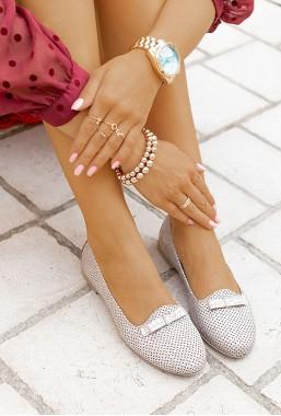 Ażurowe baleriny Emanis srebrne