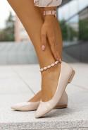 Lakierowane baleriny Tila nude
