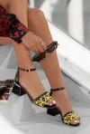 Czarne sandały Leonarda pantera