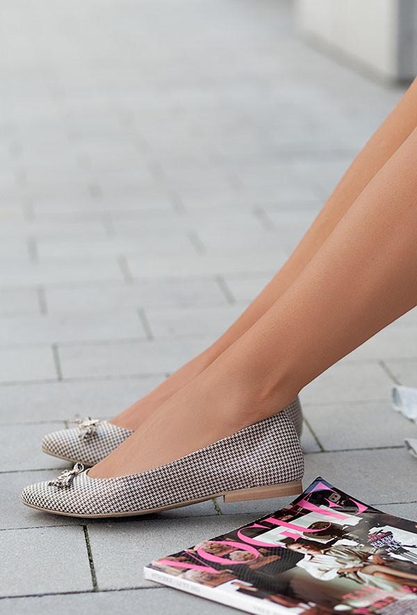 Beżowe baleriny Isidora pepitka