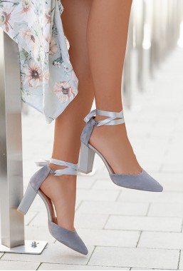 Szare zamszowe sandały Vivian