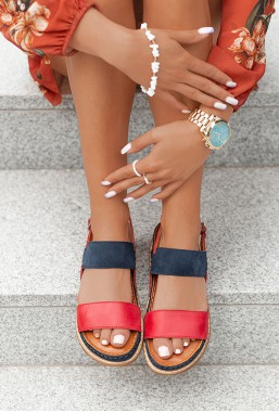 Sandały Kelsie czerwono-granatowe