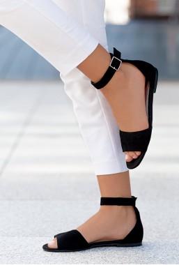 Czarne zamszowe sandały Boise