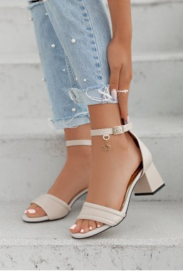Beżowe sandały na słupku Alize