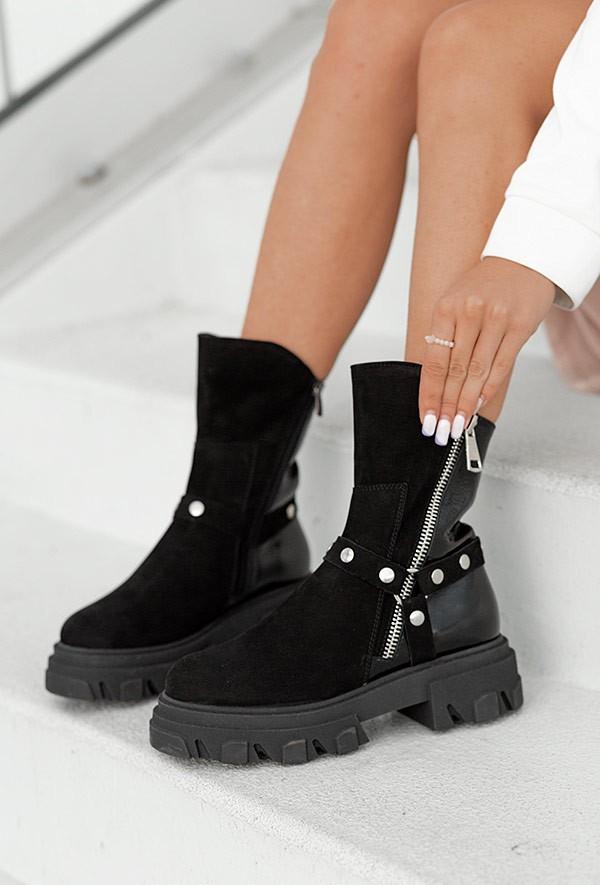 Czarne botki na platformie Denina