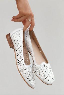 Białe ażurowe baleriny Mastai