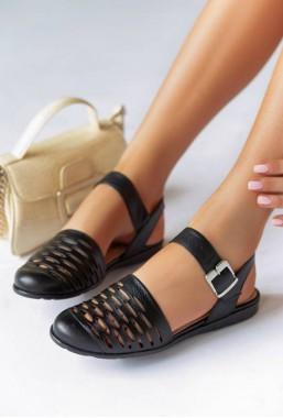 Czarne sandały ażurowe Sonja