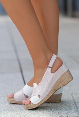 Biało różowe sandały Allora