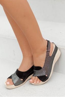 Czarne sandały Allora