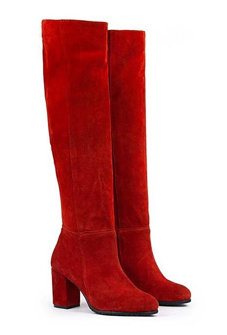 Czerwone zamszowe kozaki Valentina